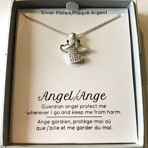 Silver plated Guardian Angel necklace